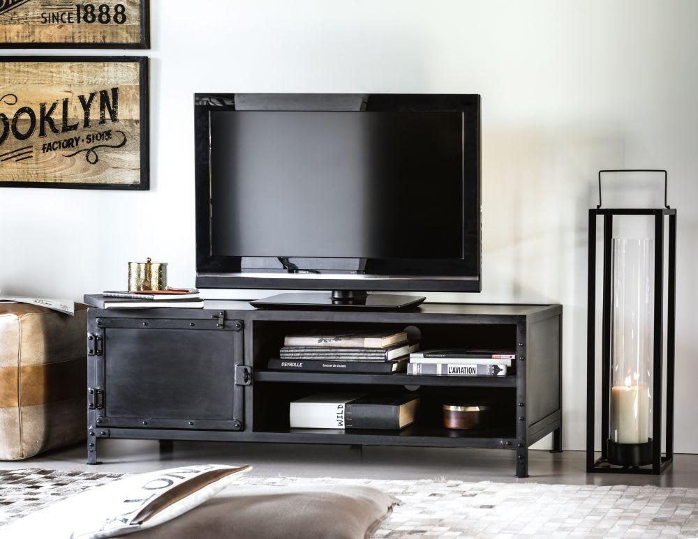 Tv Kast Industrieel : Industrieel tv meubel van zwart metaal met deur edison maisons