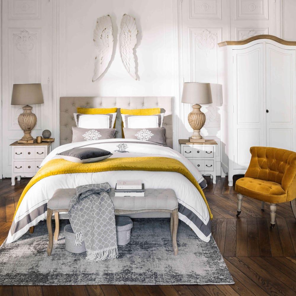 Table de chevet 2 tiroirs en acacia et manguier blanche Versailles ...