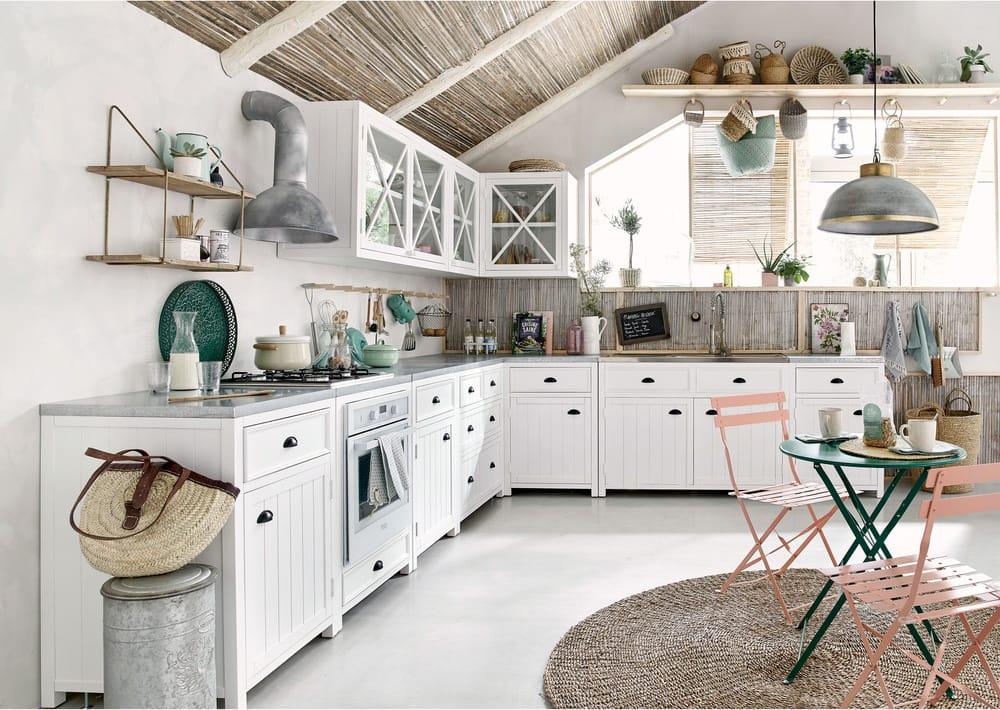 Mobile Basso Bianco Da Cucina In Legno 120 Cm Newport Maisons Du Monde