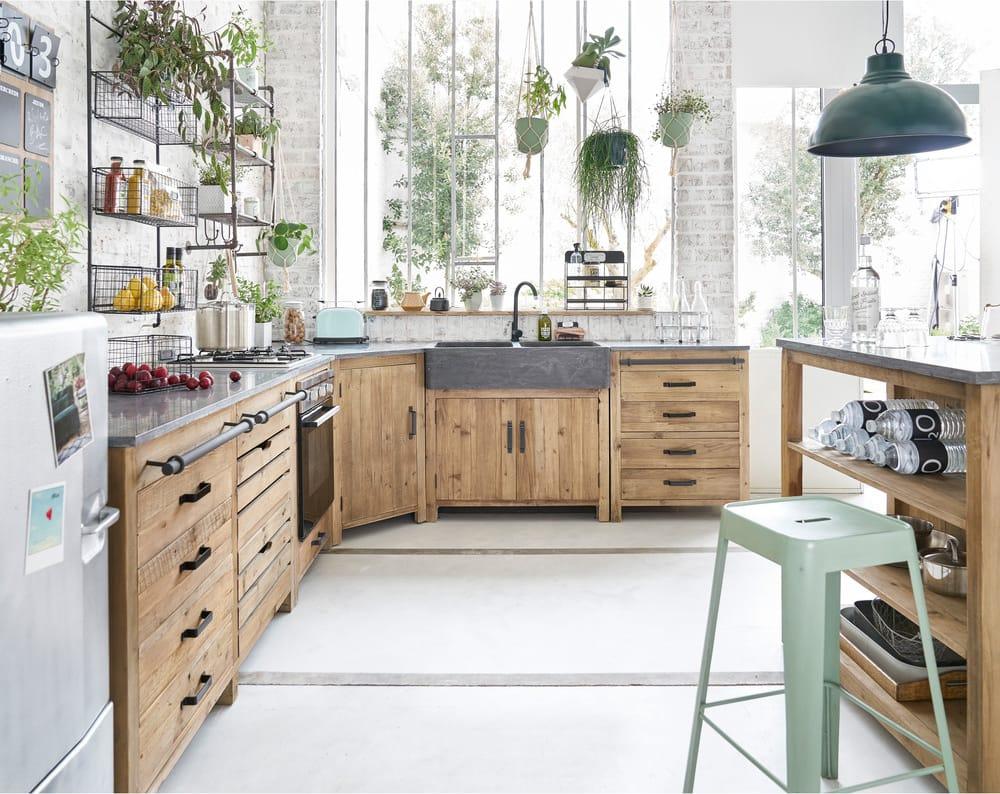 Mueble bajo de cocina esquinero de pino reciclado An 97 Pagnol ...