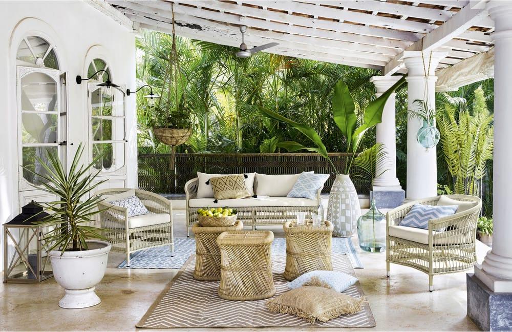 Bout de canapé en bambou et fils mogale maisons du monde