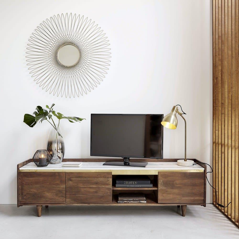 3 Turiges Tv Mobel Aus Massivem Akazienholz Und Weissem Marmor