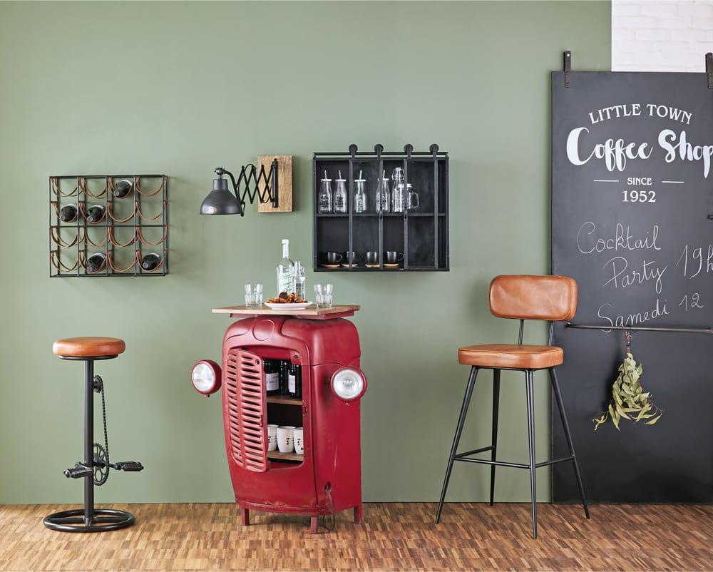 Sgabello da bar stile industriale in pelle color cognac e metallo