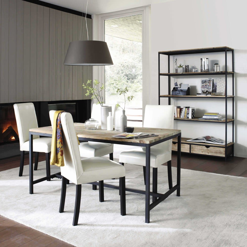 Solid Fir and Metal 6/8-Seater Industrial Dining Table L150 Long ...