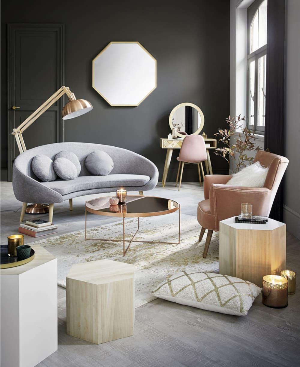 Chaise Style Scandinave En Velours Vieux Rose Clyde Maisons Du Monde