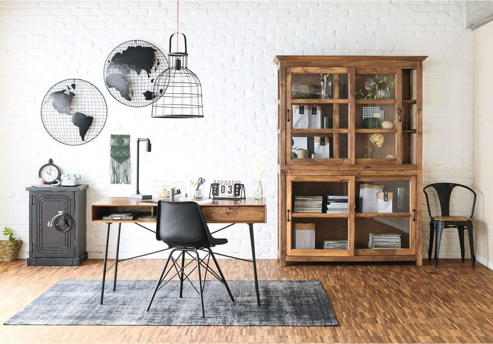 Bureau 1 tiroir en manguier massif et métal noir arty maisons du monde