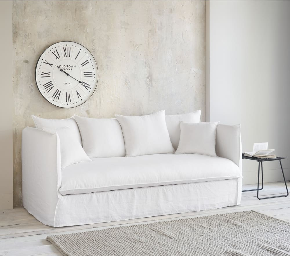 White 3 4 Seater Washed Linen Sofa Bed