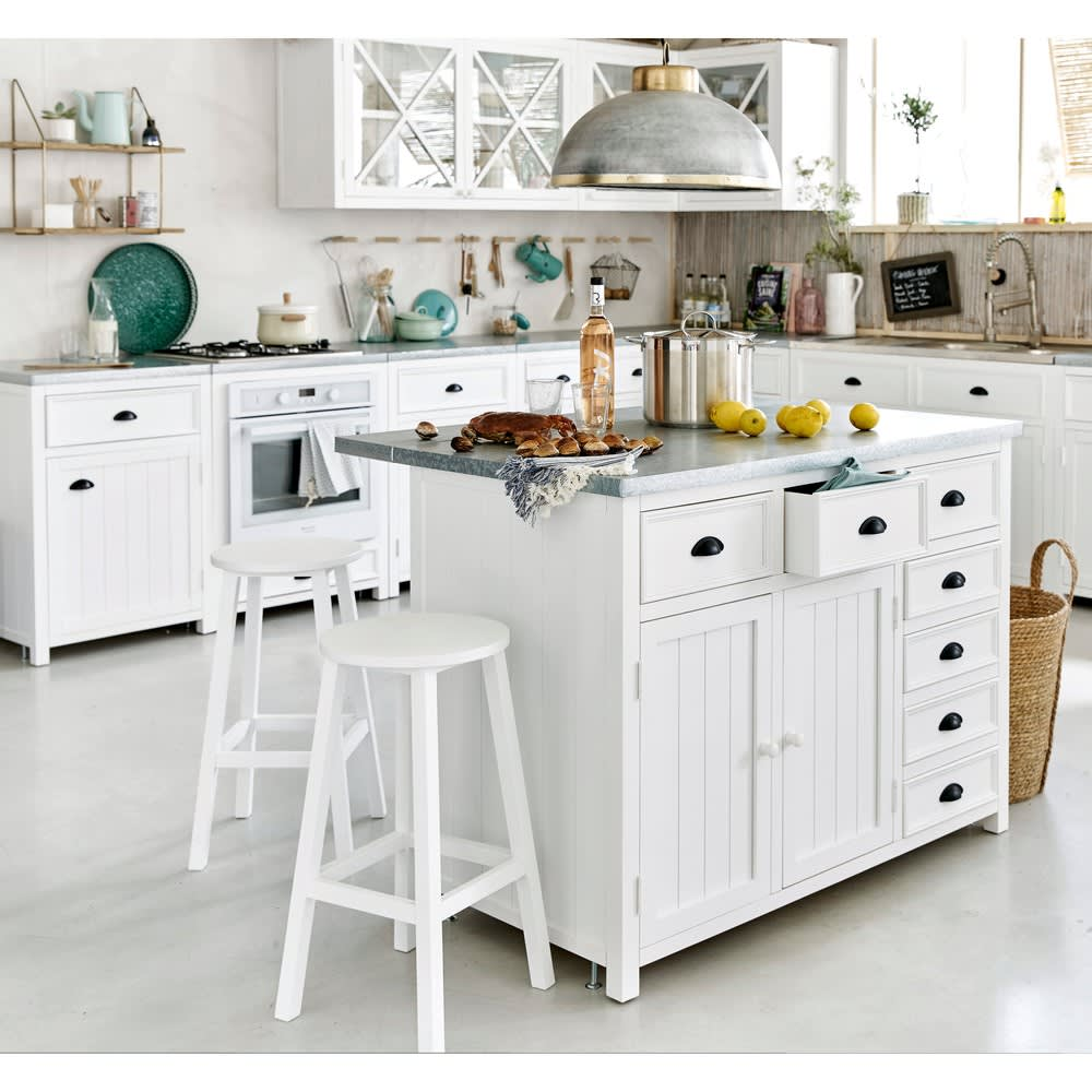 Îlot central cuisine en pin blanc L120 Newport | Maisons du Monde