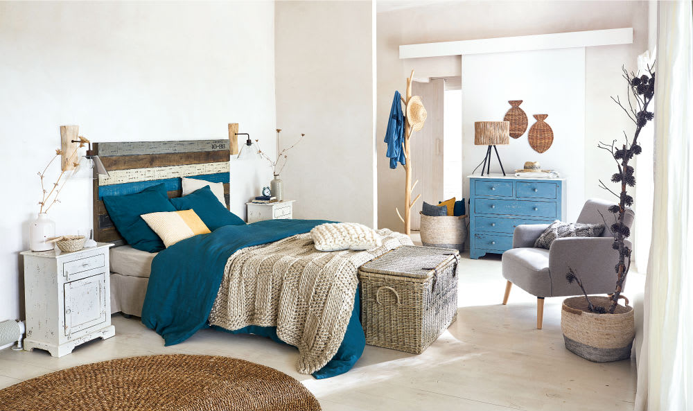 chambre avec une déco bleue