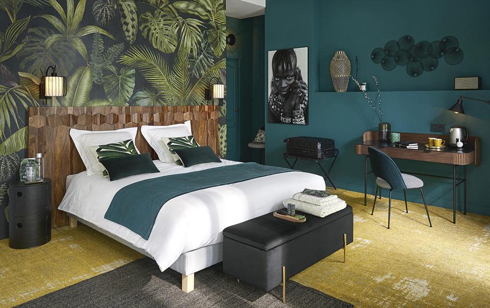 chambre verte à l'esprit jungle