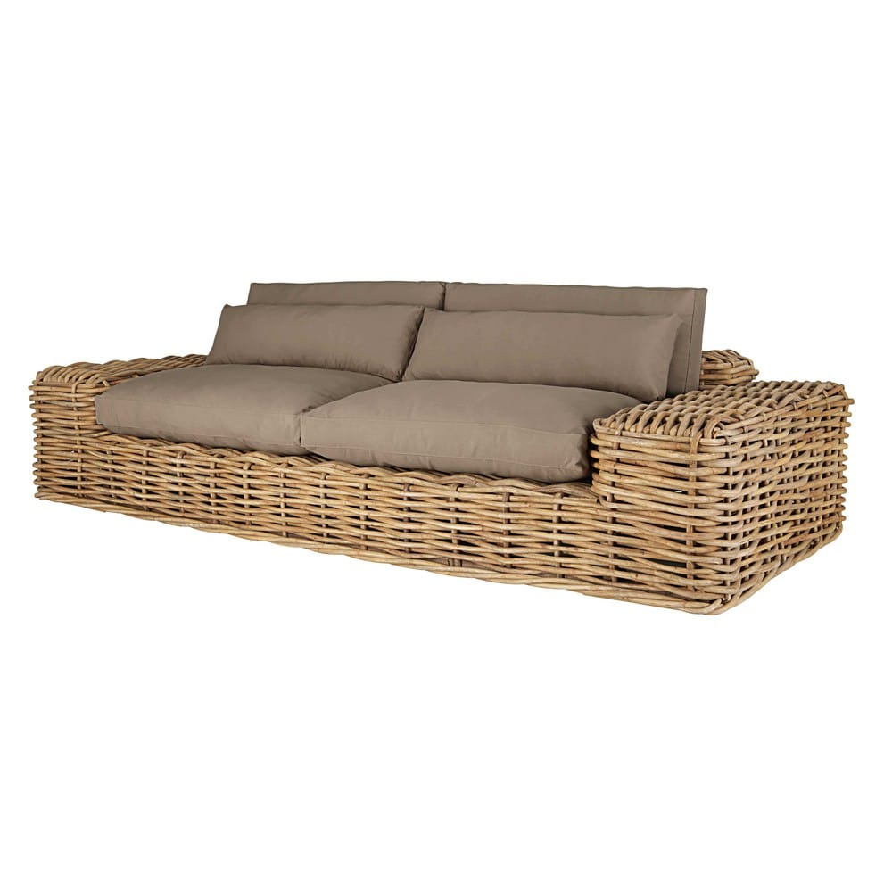 2/3-seater garden sofa in rattan with taupe cushions St ...