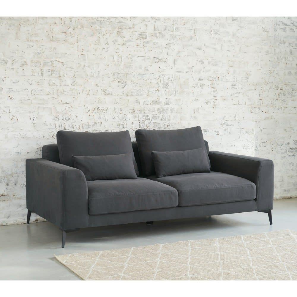 2 3 Sitzer Sofa Bezug Aus Baumwolle Und Leinen Schiefergrau