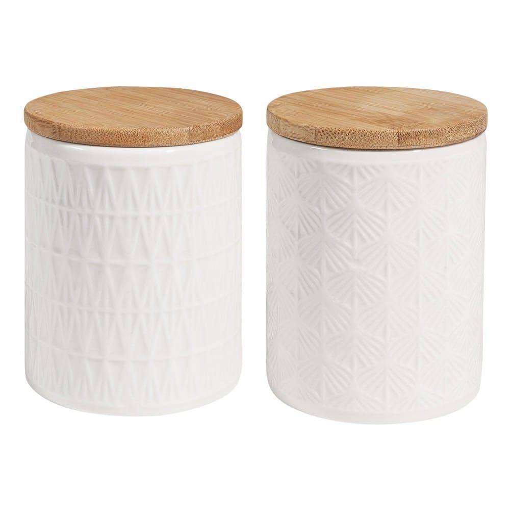 2 Barattoli In Ceramica Bianca Con Coperchio Urban Garden Maisons