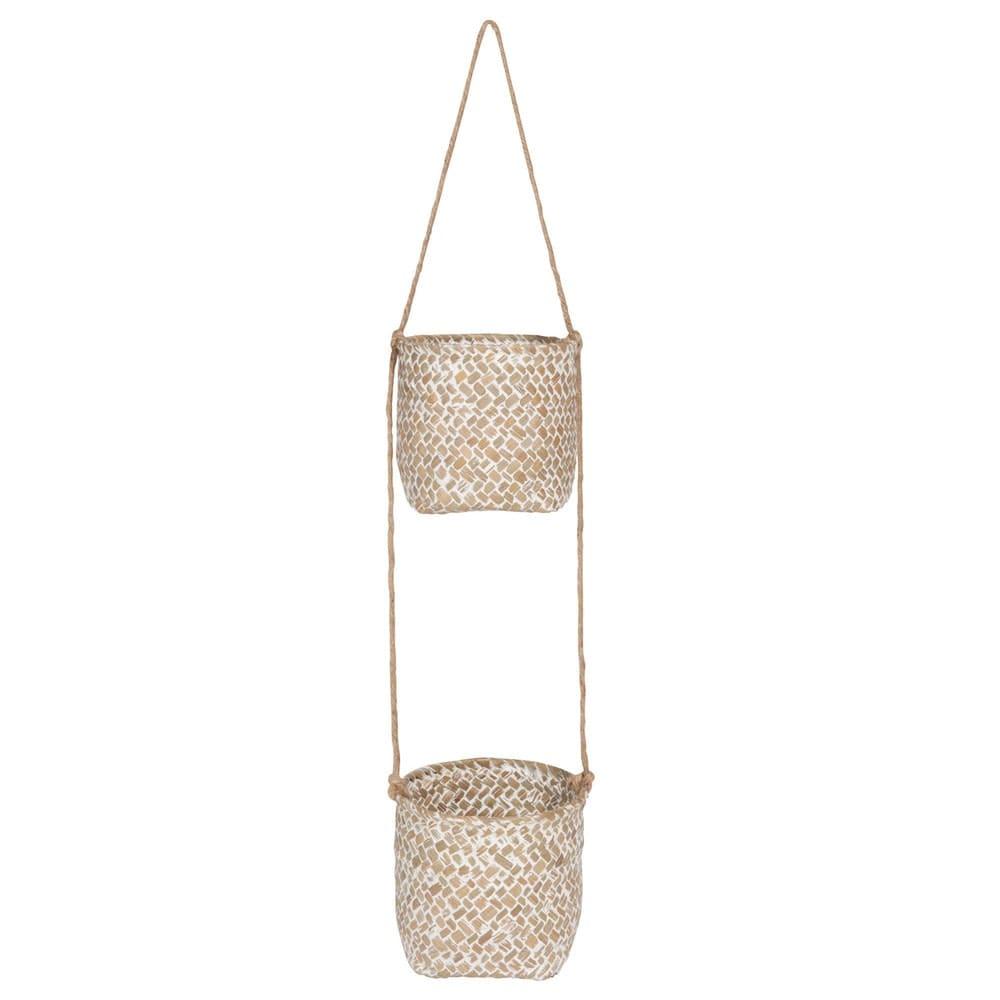 2 cache pots suspendus en fibre v g tale blanchie. Black Bedroom Furniture Sets. Home Design Ideas