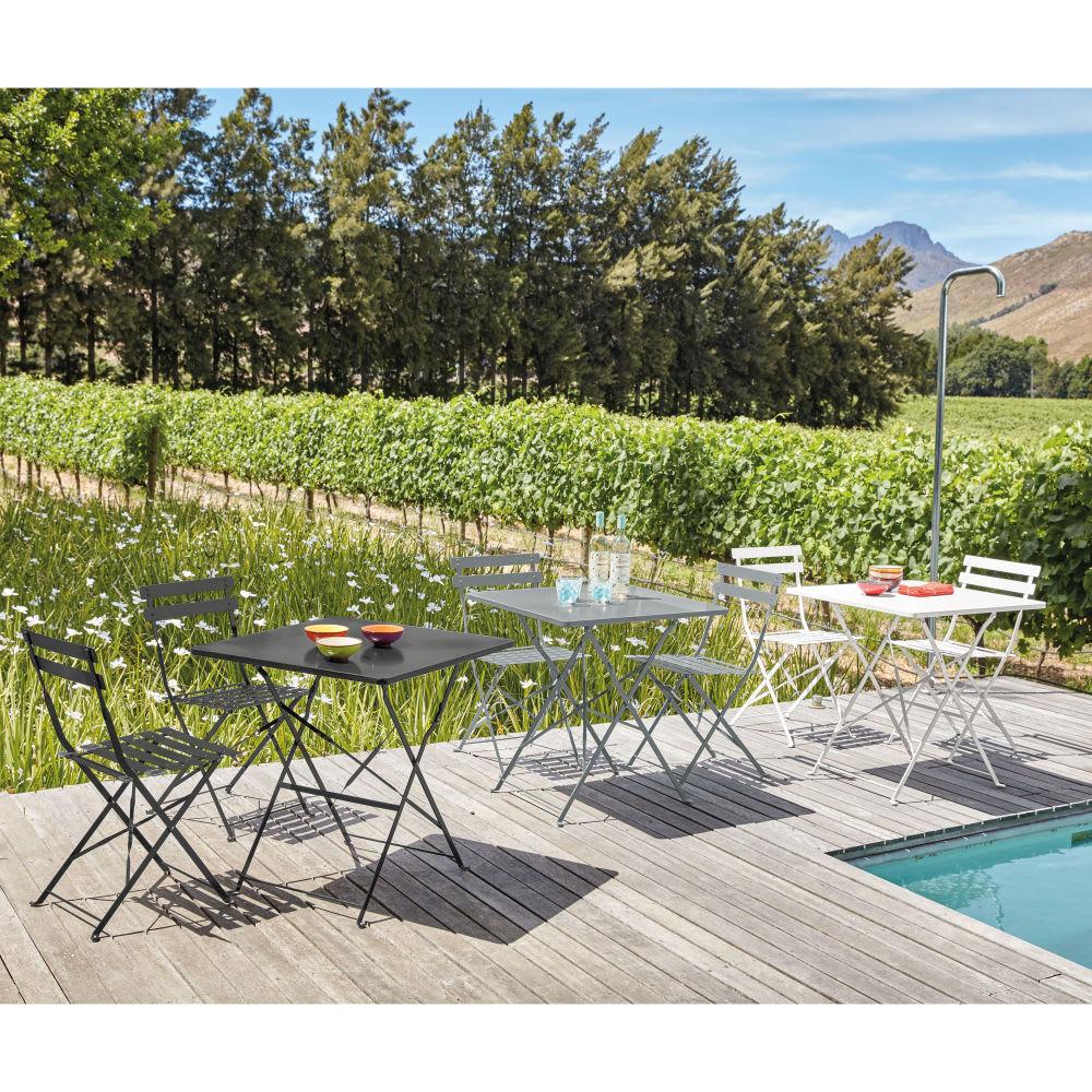 2 chaises de jardin pliantes en métal époxy gris H80 Guinguette ...