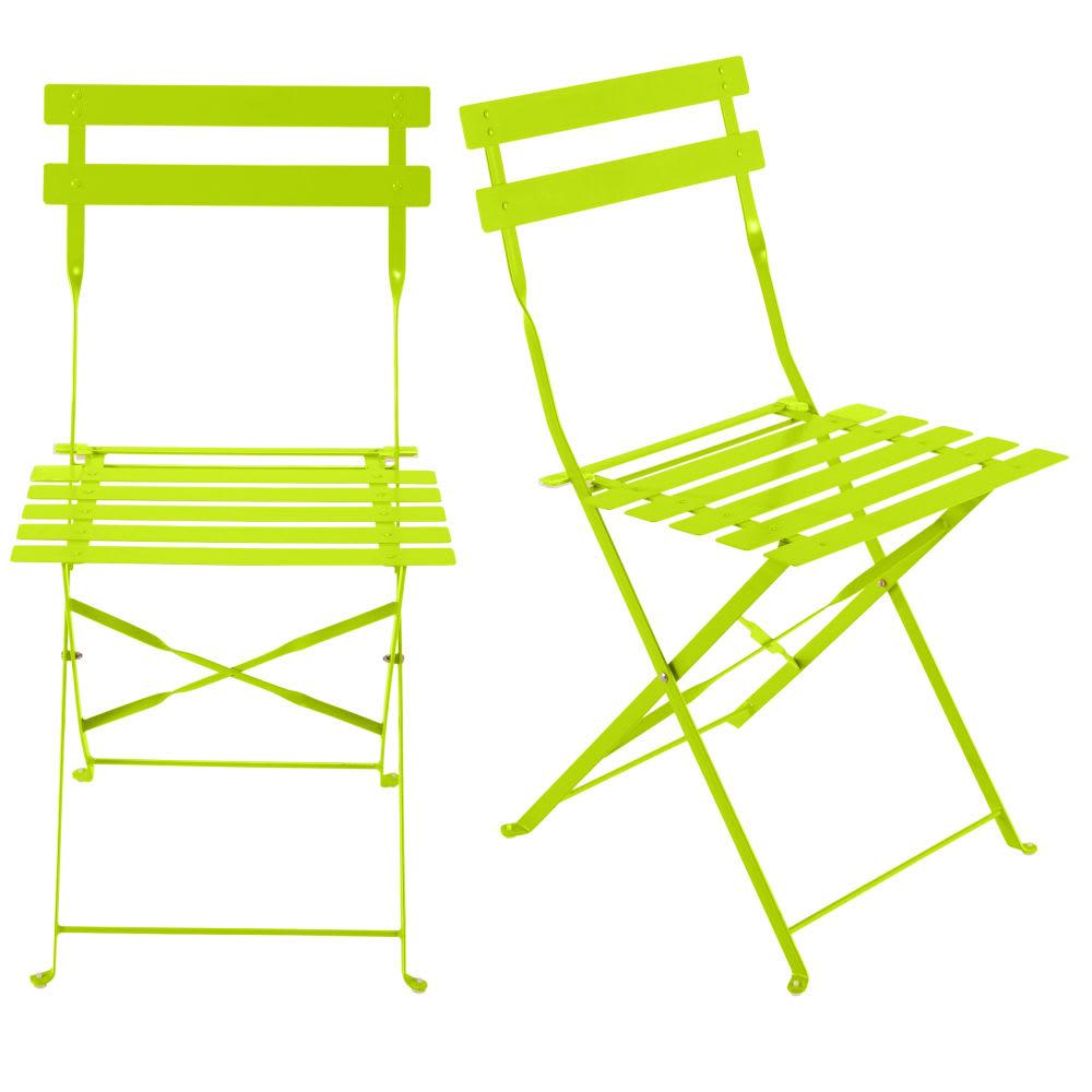 2 chaises pliantes de jardin en métal anis Guinguette   Maisons du Monde