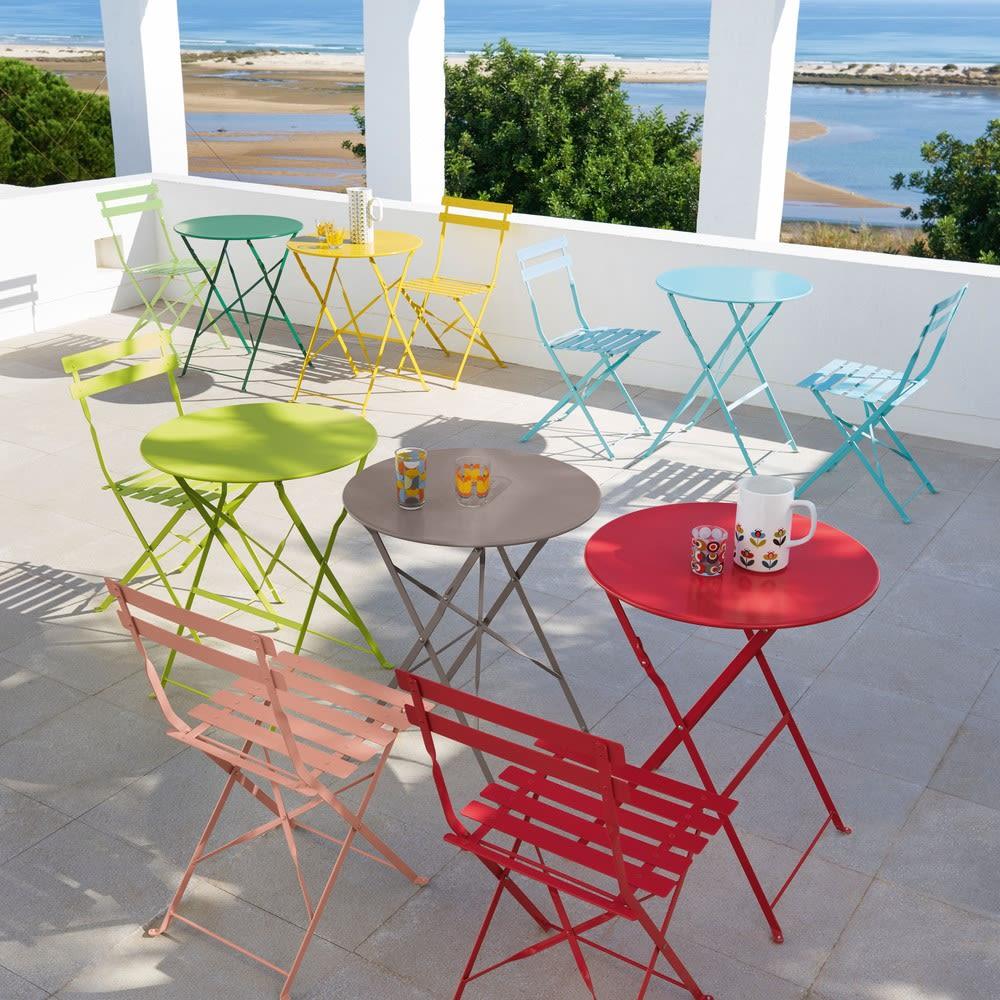 2 chaises pliantes de jardin en métal rouge framboise Guinguette ...