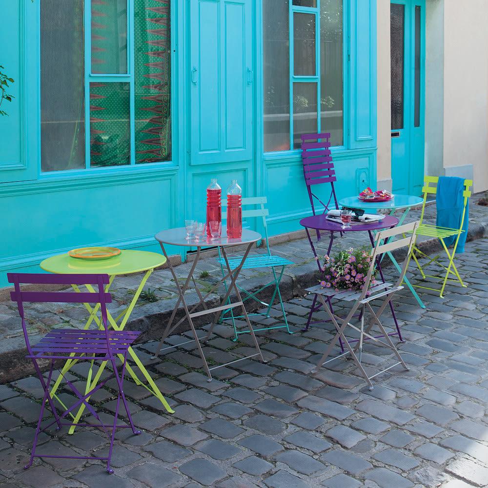 Tavoli Da Giardino Maison Du Monde.2 Chaises Pliantes De Jardin En Metal Taupe Guinguette Maisons Du