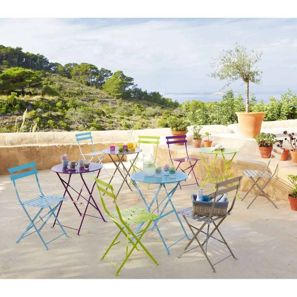 2 chaises pliantes de jardin en m tal taupe guinguette maisons du monde - Chaise de jardin en metal ...