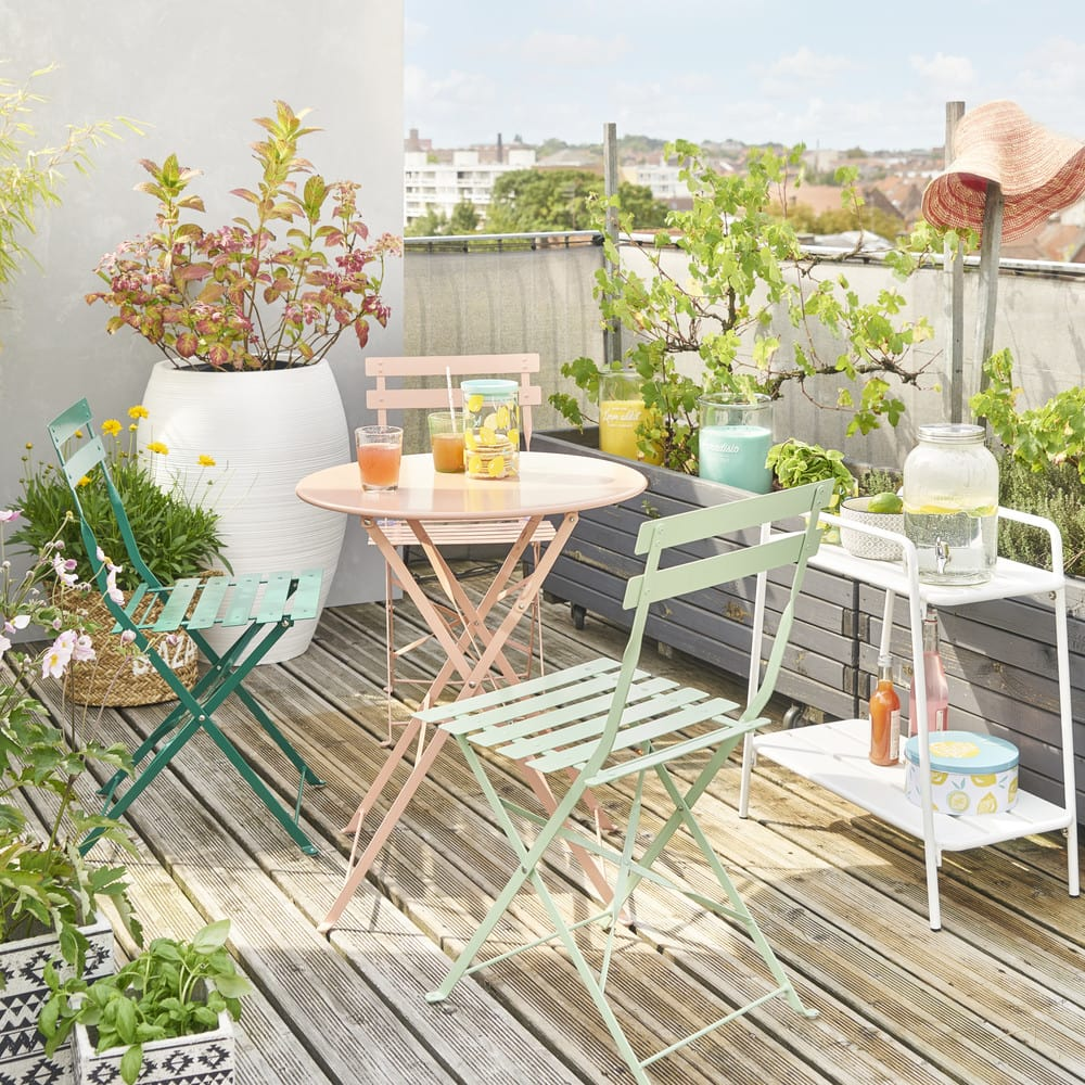 2 chaises pliantes de jardin en m tal vert guinguette maisons du monde - Chaise de jardin en metal ...