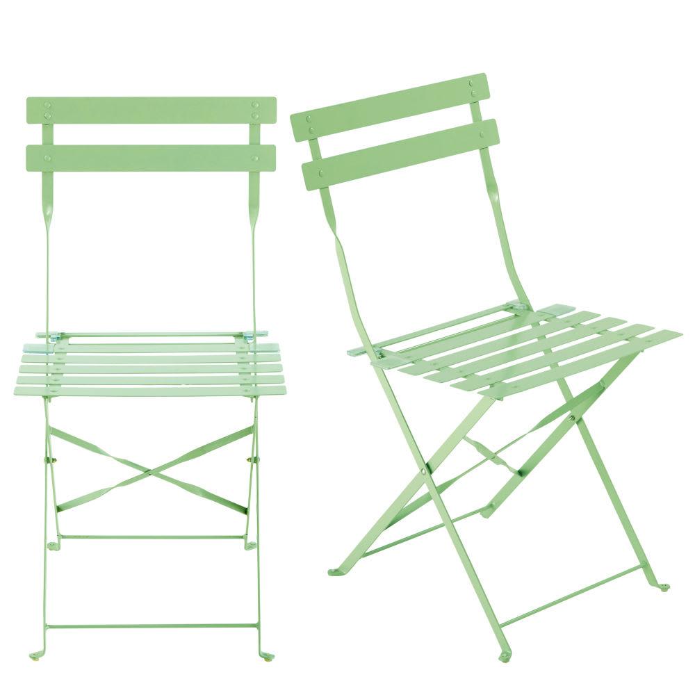 2 chaises pliantes de jardin en m tal vert d 39 eau. Black Bedroom Furniture Sets. Home Design Ideas