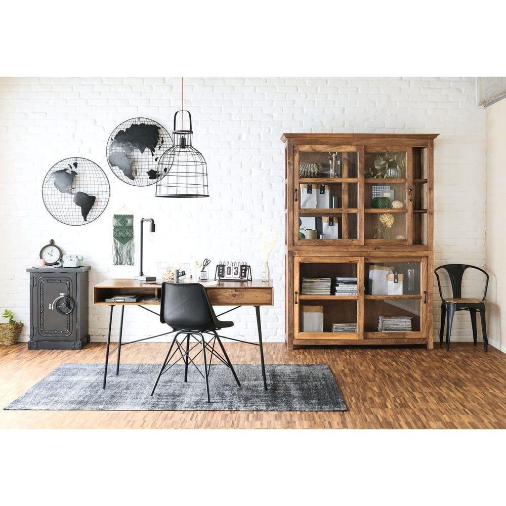 2 d co murales globes mappemonde en m tal noir explorer maisons du monde. Black Bedroom Furniture Sets. Home Design Ideas