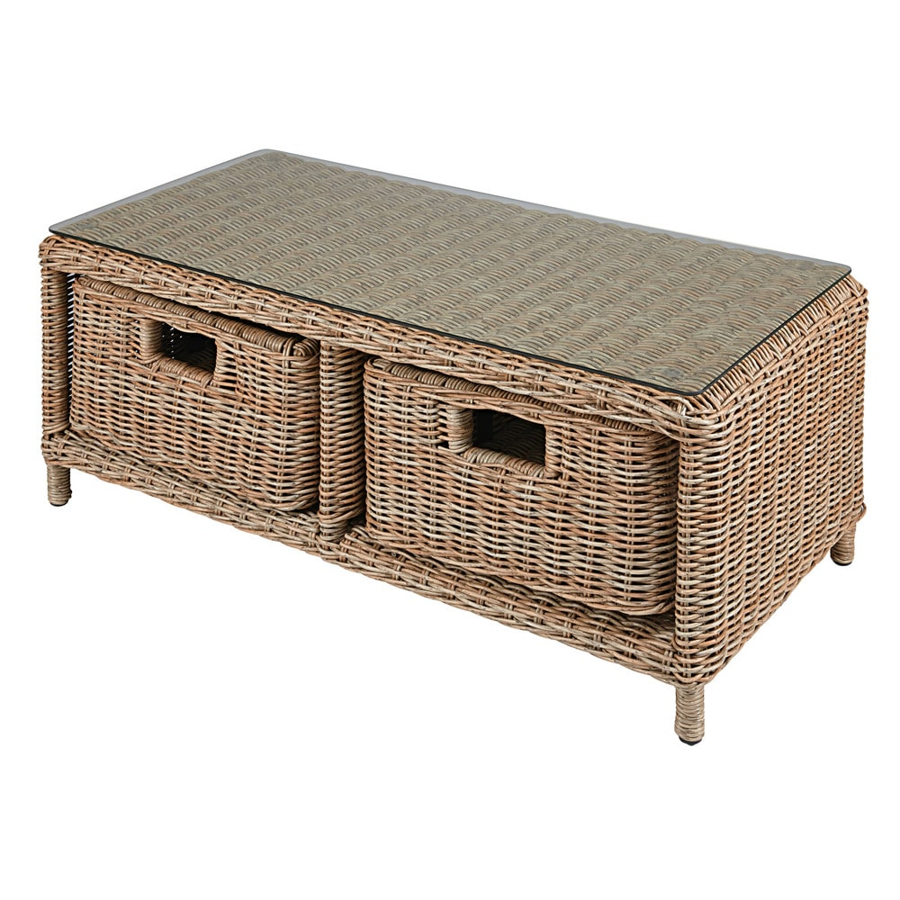 2-drawer garden coffee table in tempered glass and resin wicker Corsica 1fe639551cf