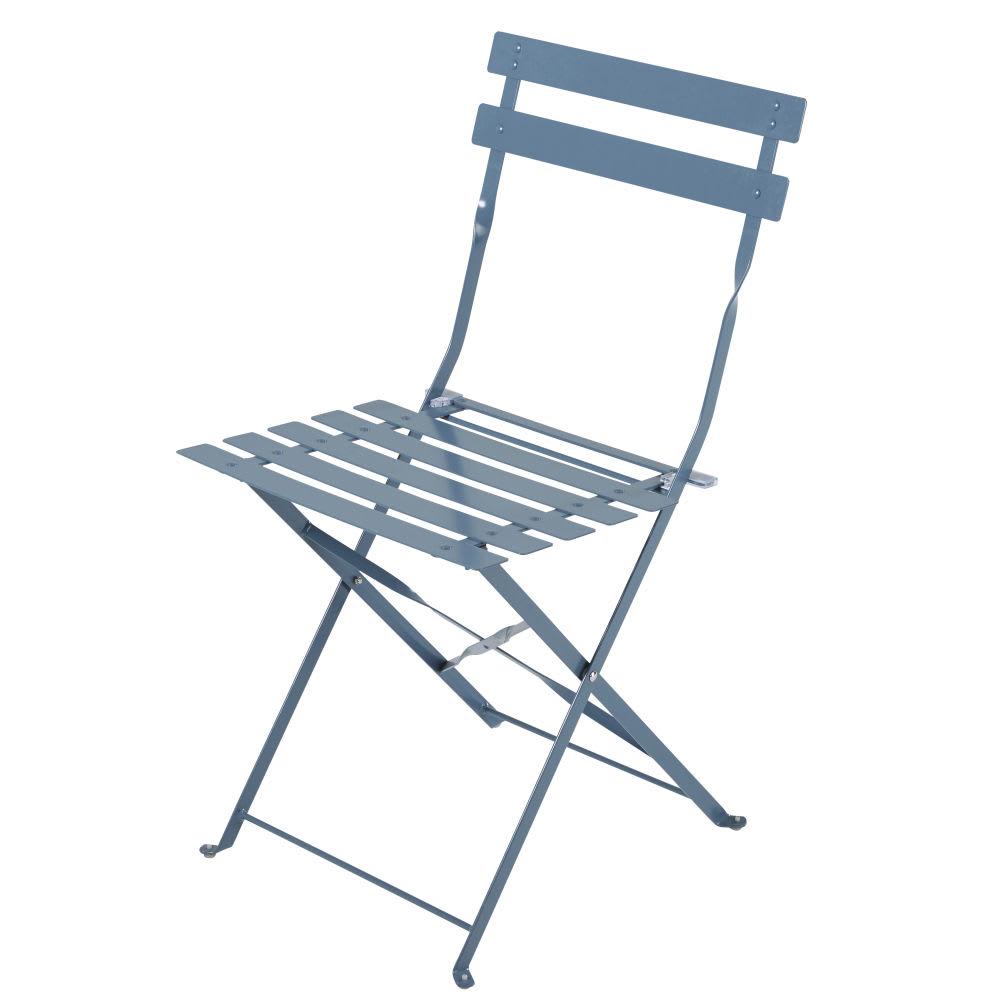 Wand Graublau: 2 Gartenklappstühle Aus Epoxidbeschichtetem Metall