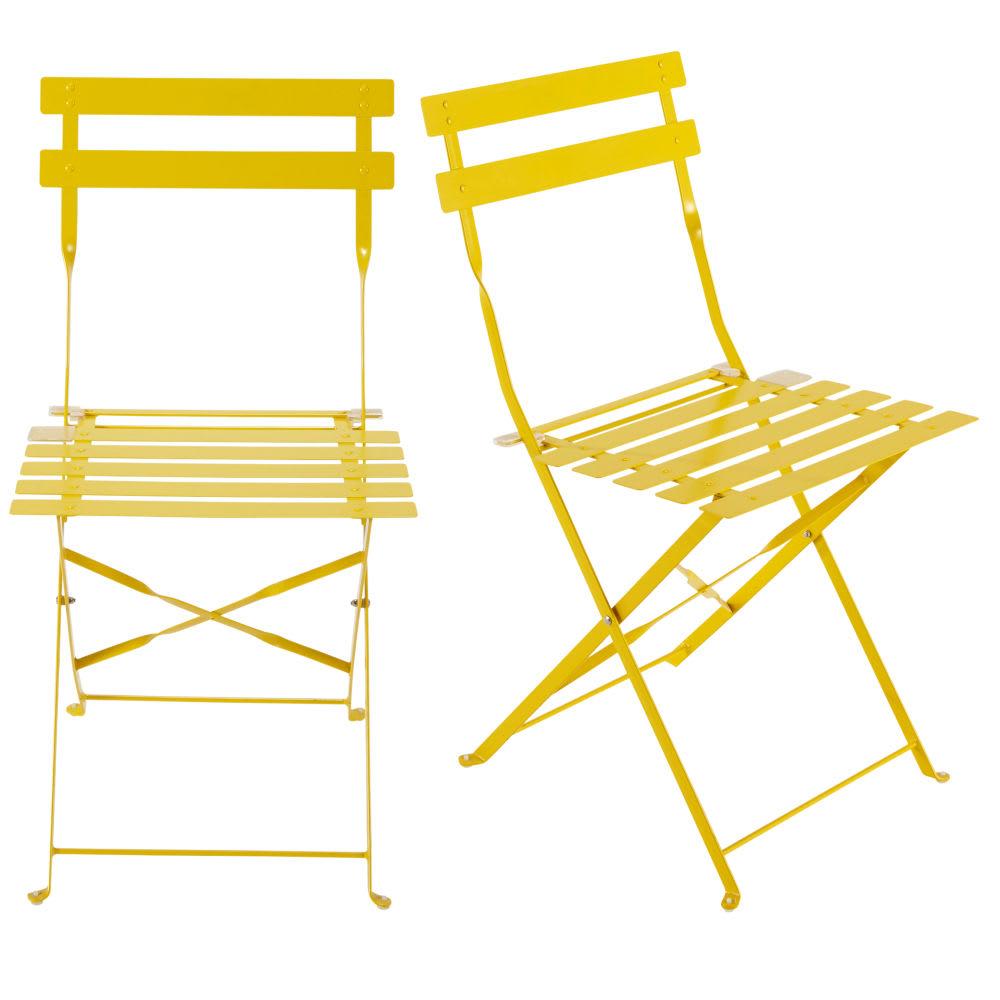 2 Metal Folding Garden Chairs In Yellow Guinguette
