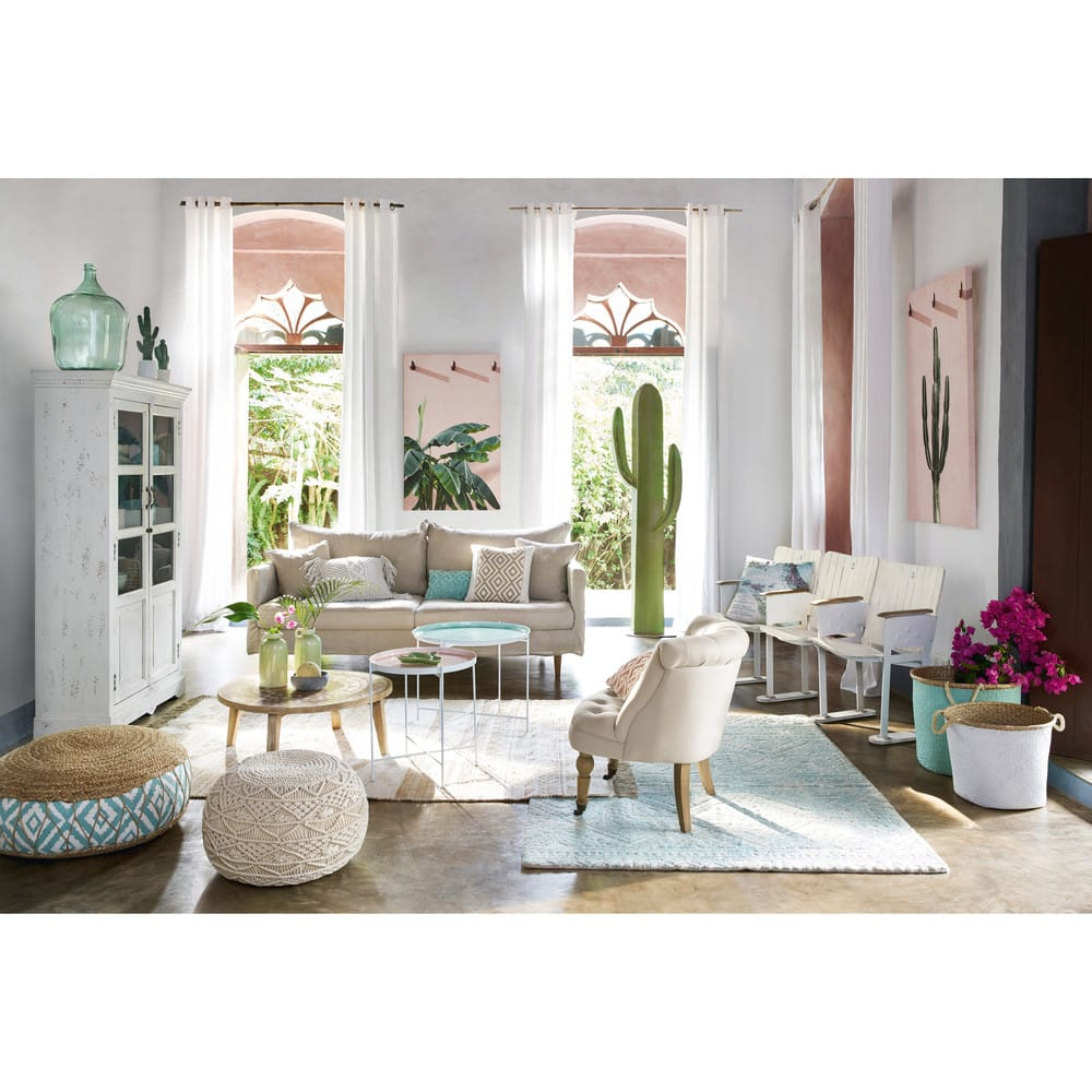 2 paniers tress s en jonc de mer vert et blanc alcira. Black Bedroom Furniture Sets. Home Design Ideas