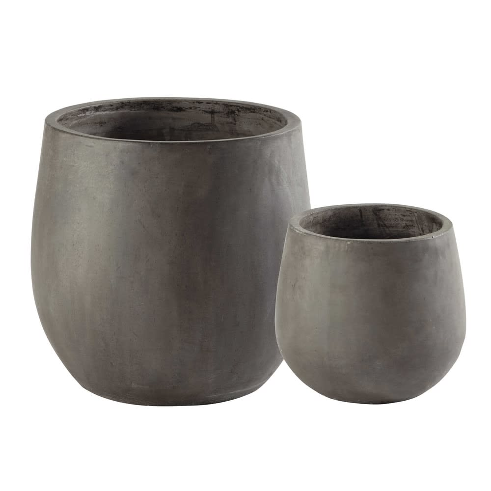 2 pots de jardin en résine gris H50 Montbeliard   Maisons du Monde