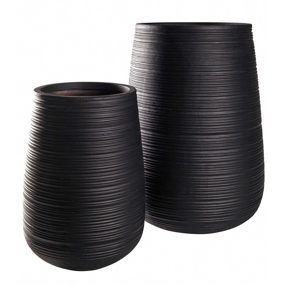 kampala - 2 pots de jardin rainurés noirs h64