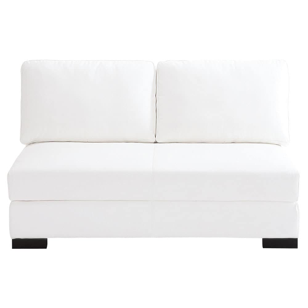 2 seater leather armless modular sofa in white terence
