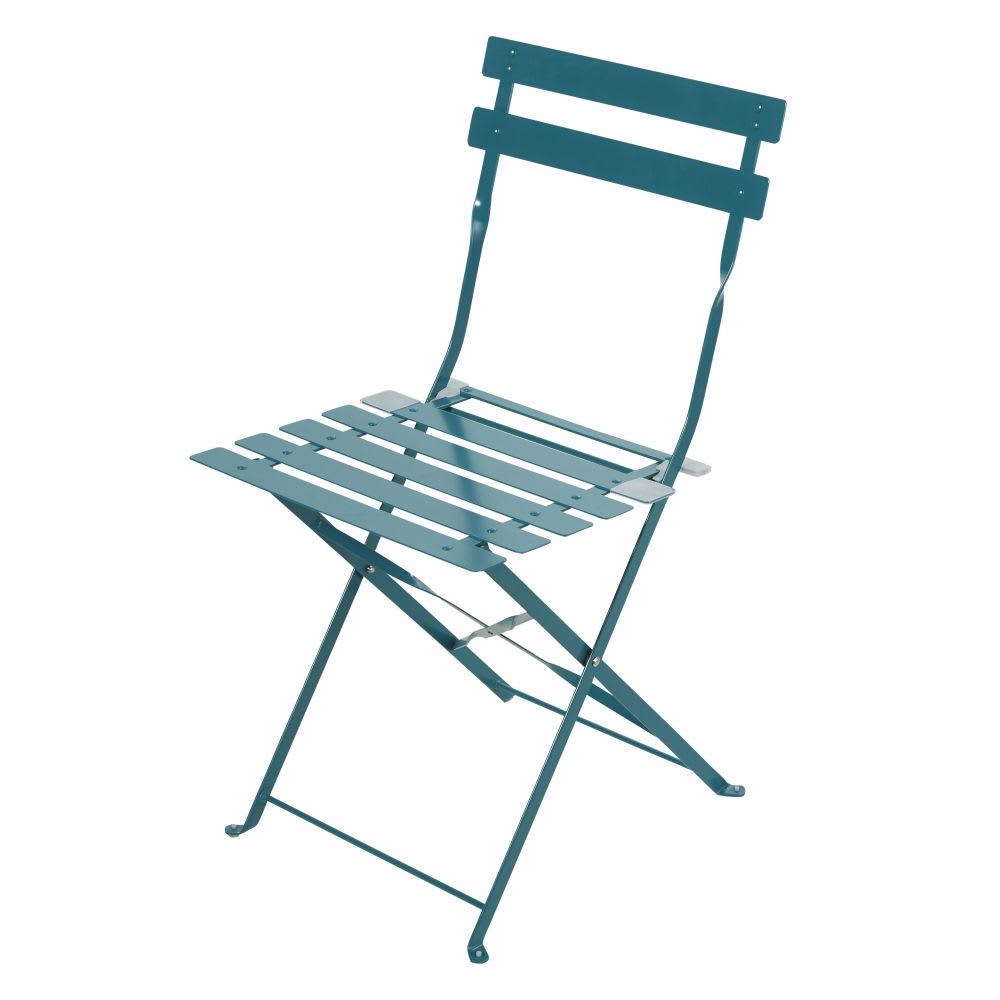 Sedie Da Giardino Pieghevoli.2 Sedie Da Giardino Pieghevoli In Metallo Epossidico Blu Pavone 80