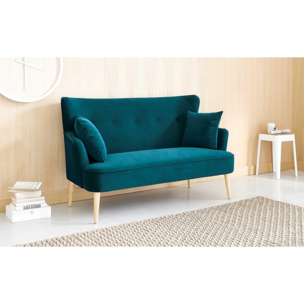 2 Sitzer Sofa mit petrolblauem Samtbezug Leon