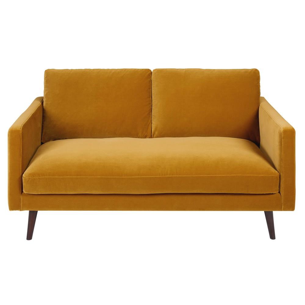 2 sitzer sofa mit senfgelbem samtbezug kant maisons du monde. Black Bedroom Furniture Sets. Home Design Ideas