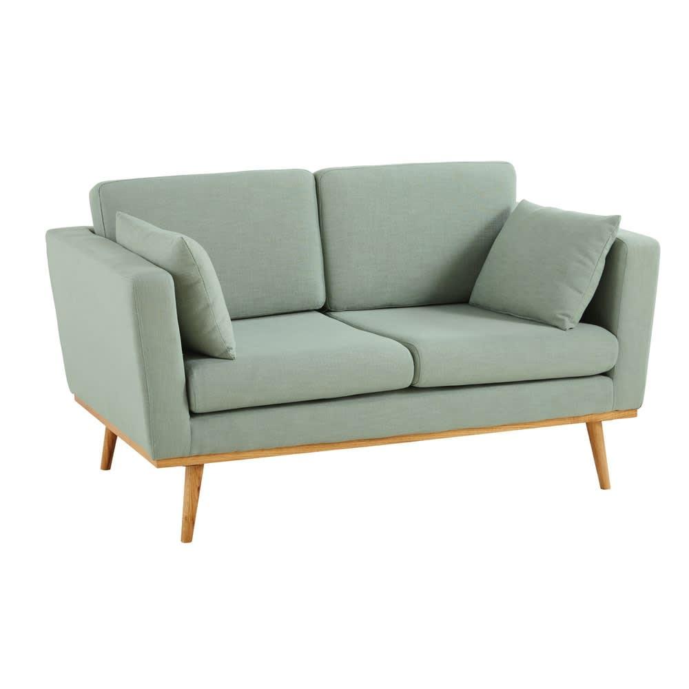 2 Sitzer Vintage Sofa grau grün Timeo