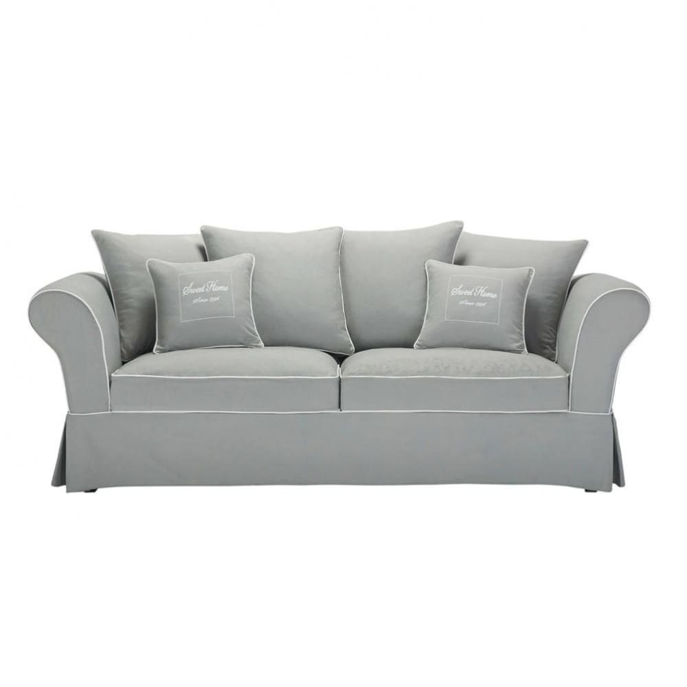3/4 Seater Cotton Sofa In Grey Sweet Home