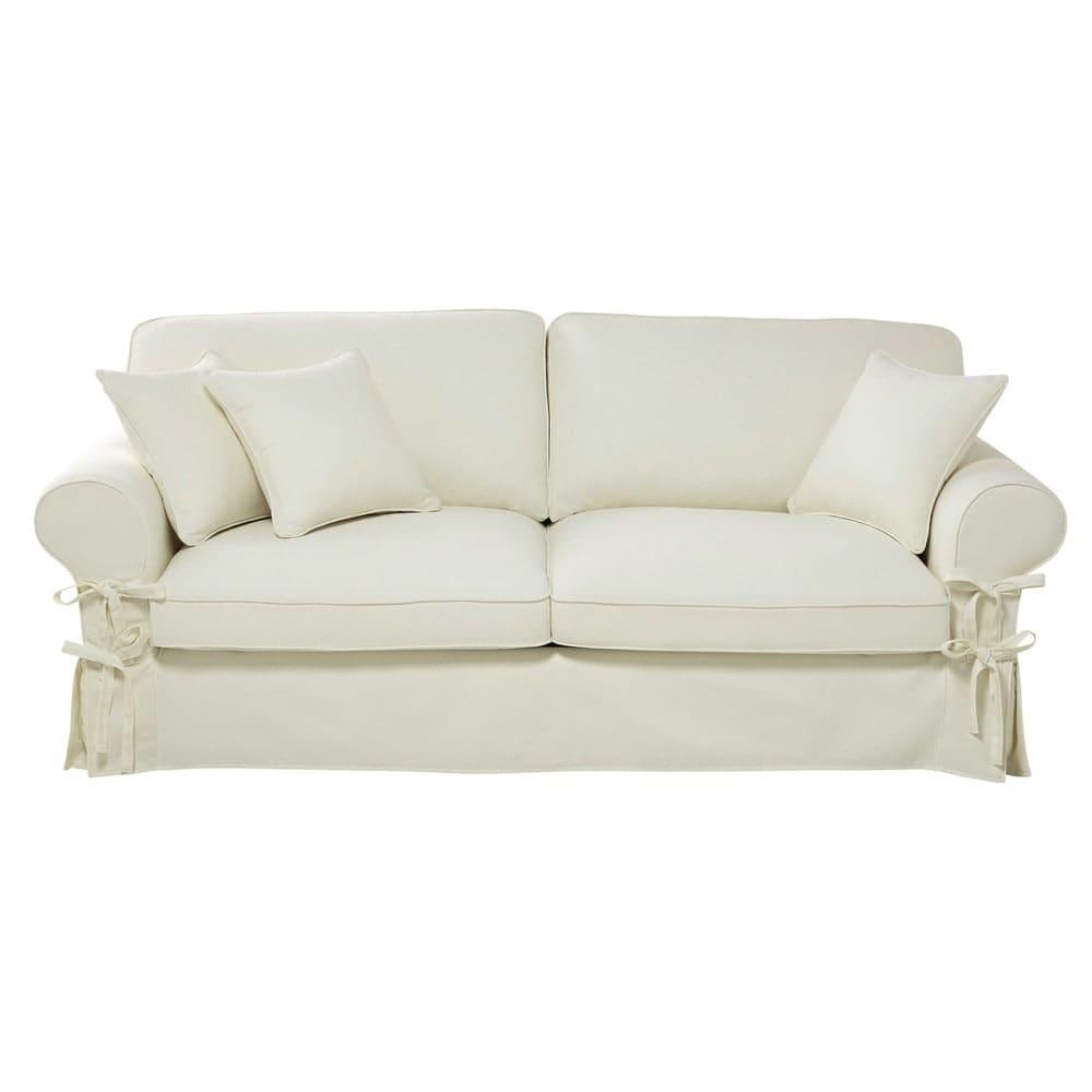 Maison Du Monde Copridivano.3 4 Seater Cotton Sofa In Ivory