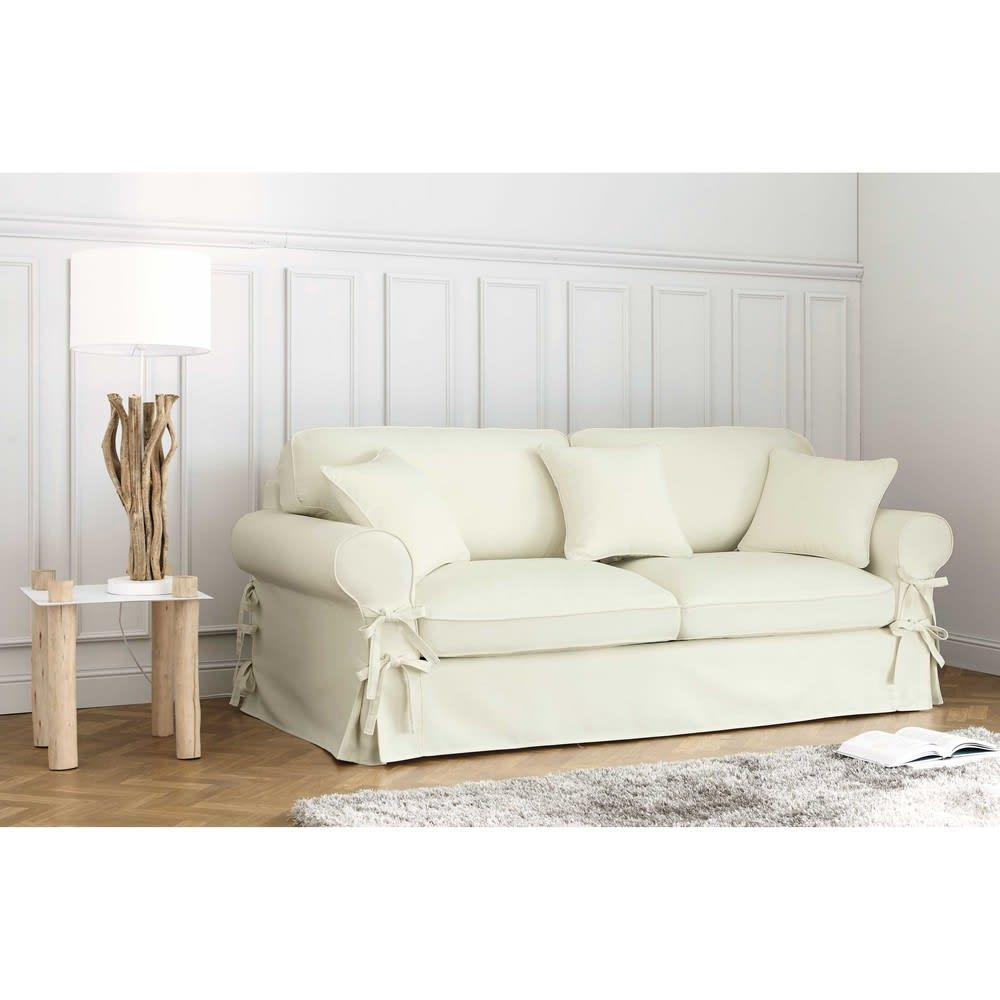 Maison Du Monde Copridivano.3 4 Seater Cotton Sofa In Ivory Butterfly Maisons Du Monde