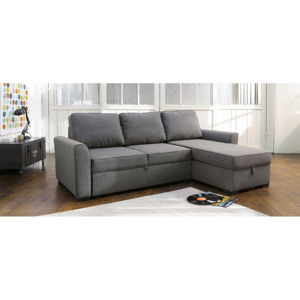 3/4 Seater Grey Fabric Corner Sofa Bed Montréal | Maisons ...