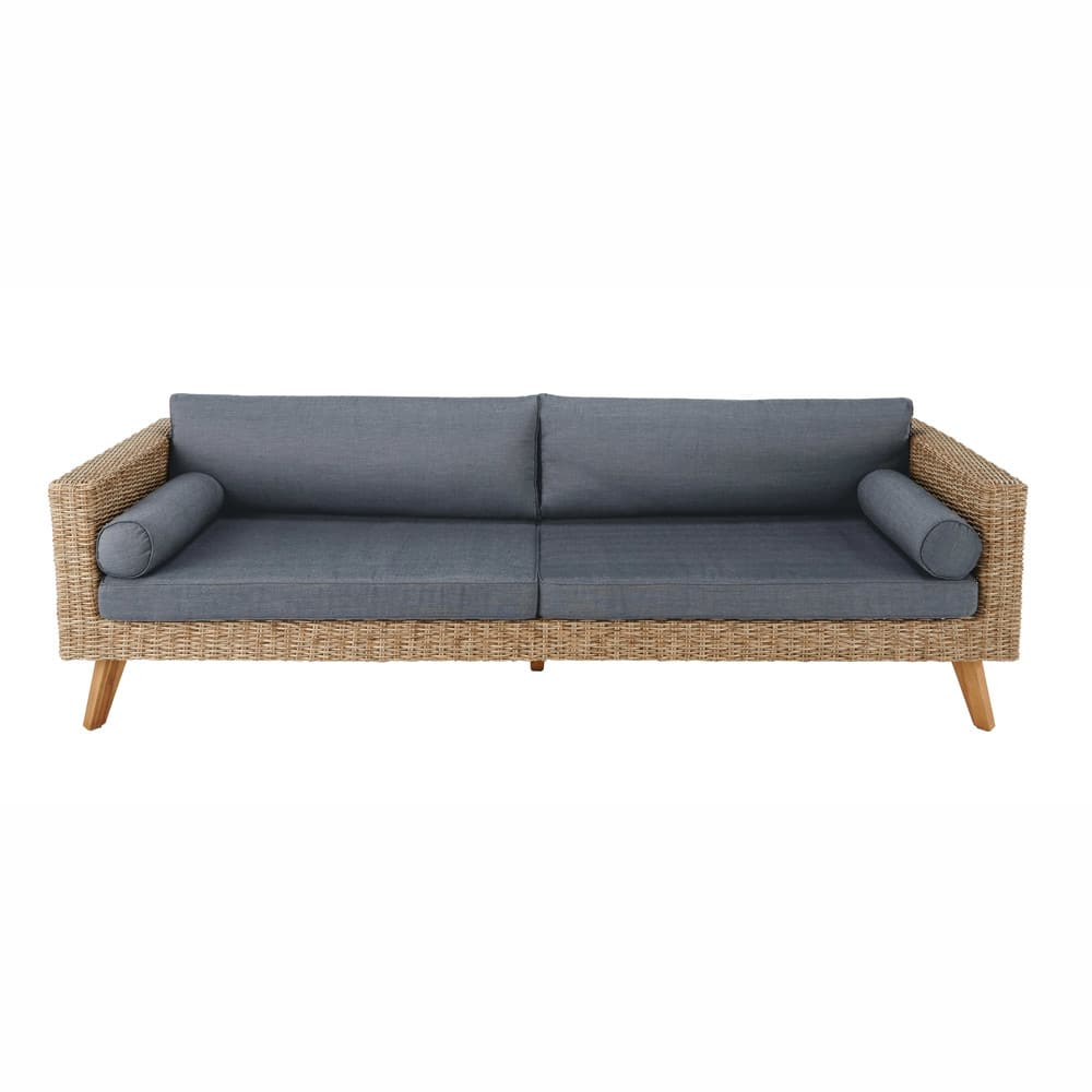 3 4 Seater Wicker And Canvas Garden Sofa In Charcoal Grey Feroe