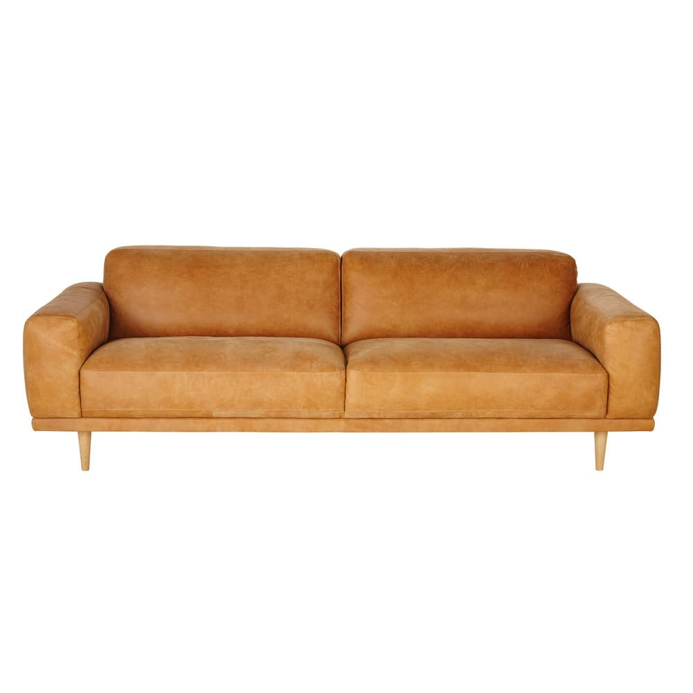 3 4 Sitzer Vintage Sofa kamelfarbener Lederbezug Sophia