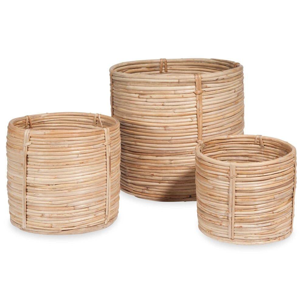 3 cache pots en rotin rondins maisons du monde. Black Bedroom Furniture Sets. Home Design Ideas