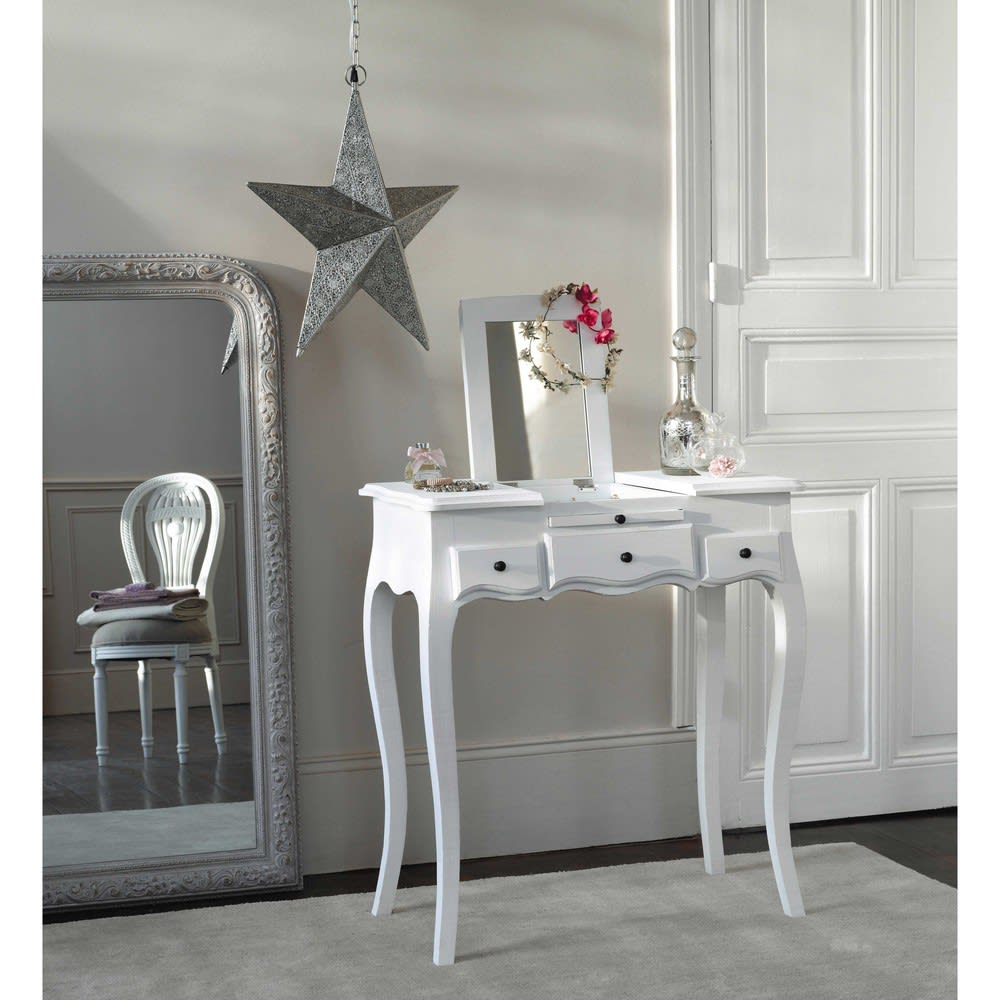 3 drawer dressing table in white mathilde maisons du monde. Black Bedroom Furniture Sets. Home Design Ideas