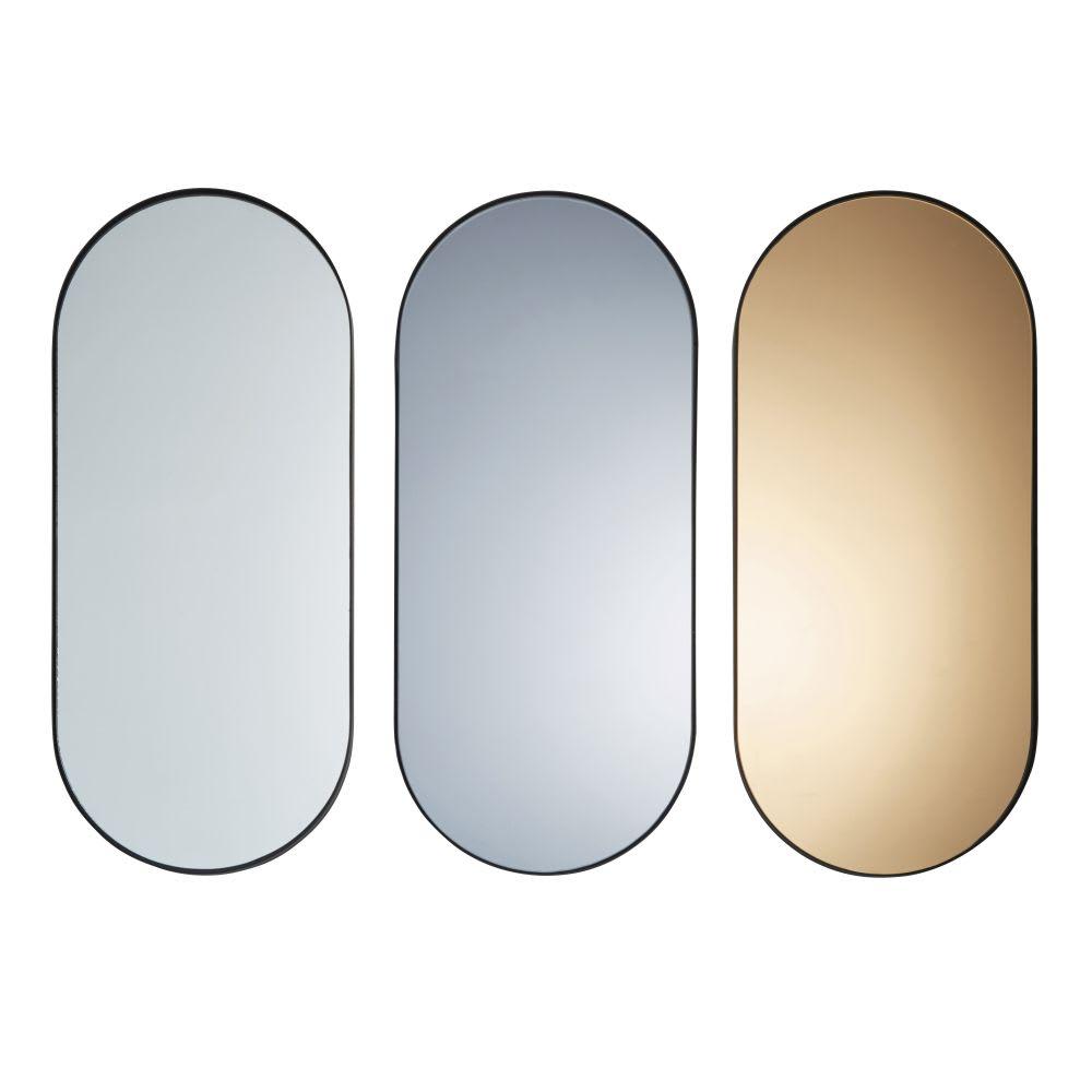 3 Espelhos De Metal Preto 30x70