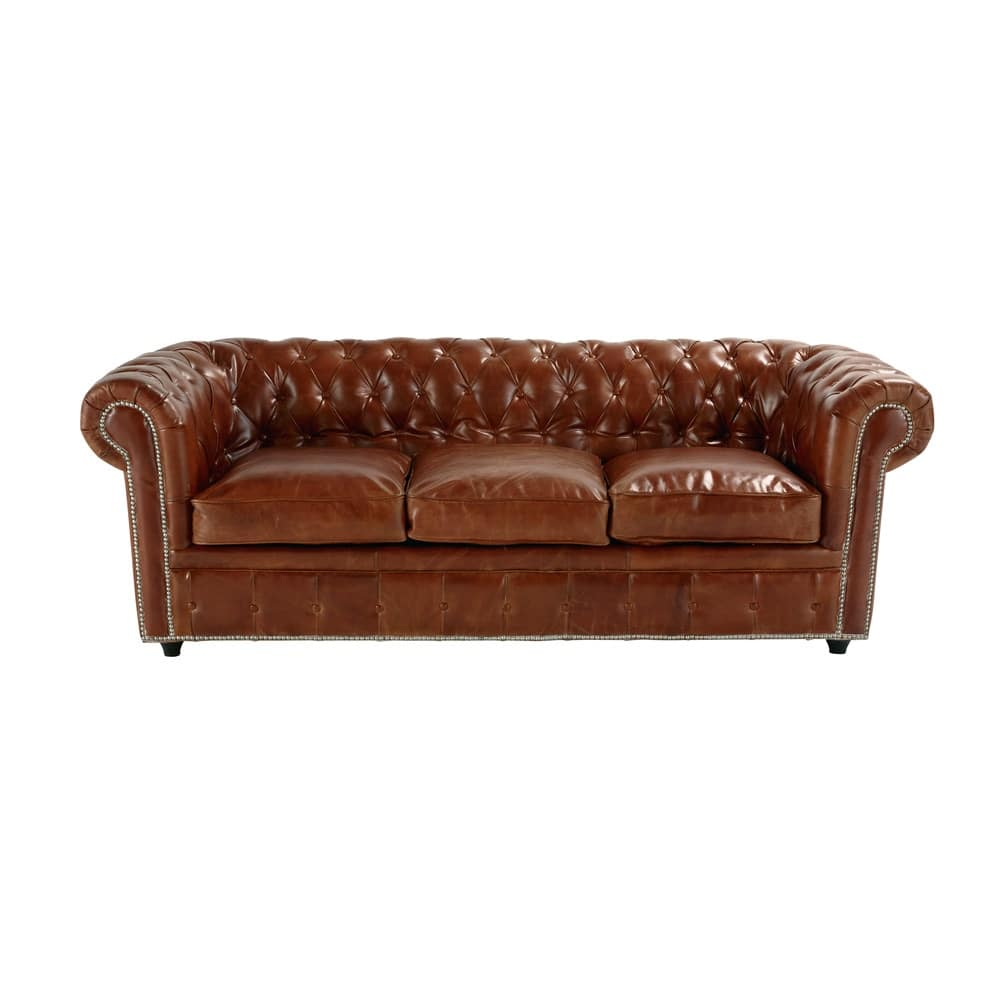 3 Seater Leather On Sofa Bed In Brown Chesterfield