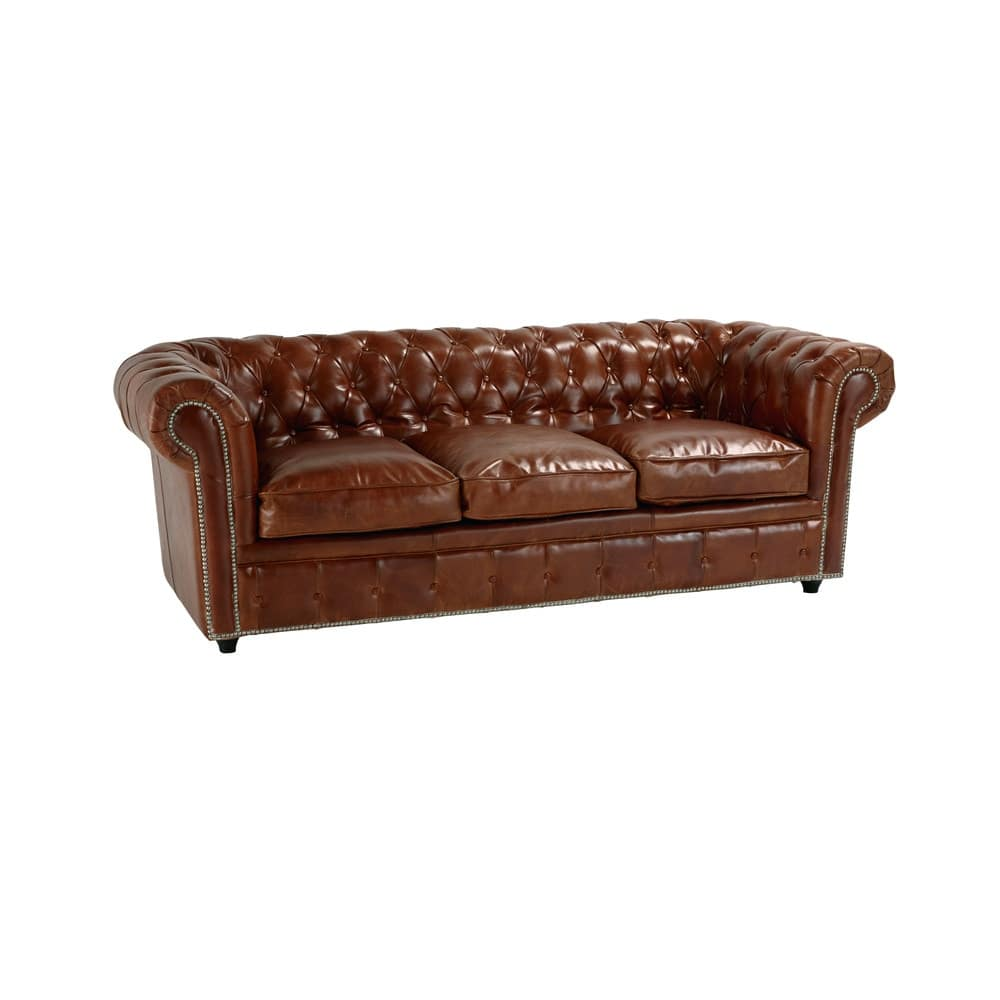 3 seater leather button sofa bed in brown chesterfield maisons du monde. Black Bedroom Furniture Sets. Home Design Ideas