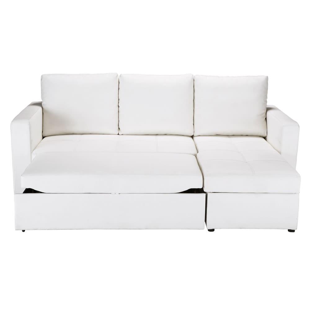 3 Seater White Corner Sofa Bed Toronto   Maisons du Monde