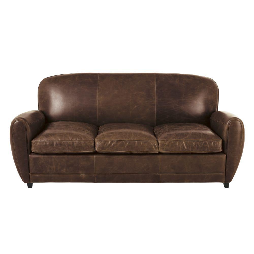 3 Sitzer Schlafsofa Im Vintage Stil Aus Leder Braun Oxford
